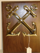 "6"" brass or chrome BM anchors on solid walnut plaque"